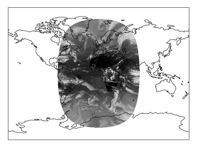 Reprojecting images from a Geostationary projection